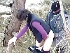 interracial fuck in the wood