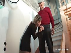 French mom hard anal pounded in threesome with Papy