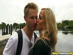 Gorgeous blonde in black suite being fucked by new lover