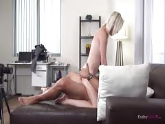 Innocent young blonde is riding on the dick and reaching orgasm