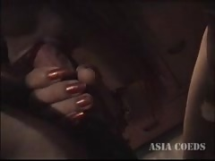Oriental chick takes a hard prick in her small mouth
