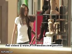 teen flashes topless in crowded mall