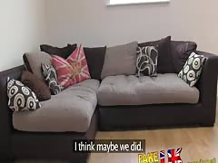 FakeAgentUK Sexy UK amateur Blonde babe rims and fucks on couch
