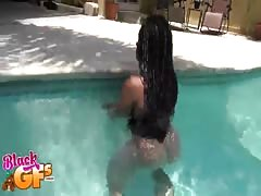 Sweet African girl sucking my horny white dick in the pool