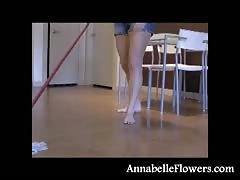 Amateur milf Annabelle Flowers is washing the floor in a sexy way