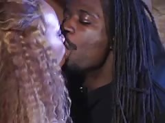 Hot light black whore gets cumshot in her mouth after fucking