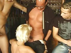 Blonde chick takes on a bunch of dicks