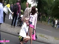 Slutty babes get fucked outdoors in their slutty assholes