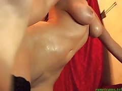 Glamorous busty Russian is slowly fingering her anal hole