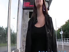 PublicAgent Beautiful brunette with big natural tits fucked outside