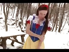 My friend snowhite performs in the snow