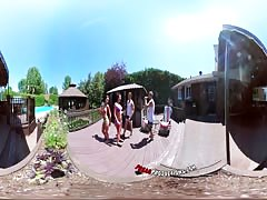 3-Way Porn - VR Group Orgy by the Pool in Public 360