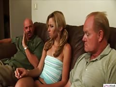 Old guys are drilling a slender blonde after giving some money
